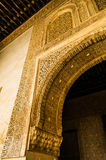Moorish Motifs and Architectural Style. Moorish Style hallway in the Alhambra palace in Granada, Spain royalty free stock photography