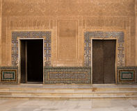Moorish ornate wall with door Stock Images
