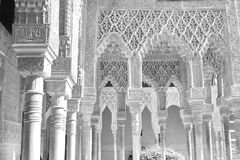Moorish Palace, Alhambra, Granada, Spain. Moorish Palace stone carvings in black and white, Alhambra, Granada, Spain Royalty Free Stock Photography