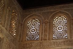 Moorish sculptured windows, Palace of Alhambra. Royalty Free Stock Images