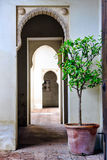 Moorish styled door entrance in Alcazaba of Malaga, Spain Royalty Free Stock Photos