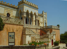 The Moorish Villa Sticchi in Salento. The Sticchi palace built in moorish style in Santa Cesarea Terme in Puglia in Italy Royalty Free Stock Images