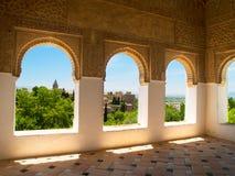 Moorishpaviljong och trädgårdar av Alhambra, Granada Royaltyfri Bild