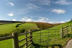 Moorland above Doone Valley, Exmoor, North Devon. Open expanses of heather and gorse moorland above Doone Valley near Malmsmead, Exmoor, North Devon stock photography