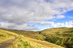 Moorland Landscape of West Central Scotland. View of the scenic and picturesque moorland landscape uphill and east of the seaside town of Largs, Ayrshire stock photos