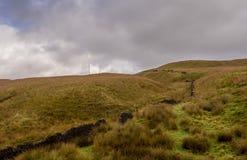 Moorland. Rivington moorland and television mast at Winter Hill, Rivington, Chorley, Lancashire, UK stock image