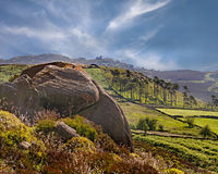 Moorland scenery. The Moorlands of Staffordshire's Peak District, viewed from the Roaches Royalty Free Stock Photos
