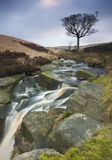 Moorland Waterfall. Waterfall on moorland cascading over rocks royalty free stock image