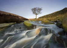 Moorland waterfall. Waterfall on the moorland of the yorkshire dales Royalty Free Stock Photo