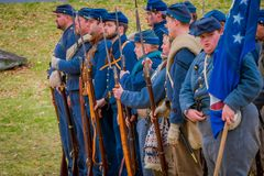 MOORPARK, USA - APRIL, 18, 2018: Group of military wearing blue uniform representing the civil War Reenactment in Royalty Free Stock Image