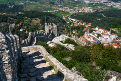 Moors Castle wall and Sintra, Portugal Royalty Free Stock Photo