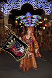 Moors & Christians Fiesta - Spain. Moros Cristianos (Moors & Christians) procession at the Fiesta de la Santisima Cruz in the town of Granja de Rocamora in Stock Image