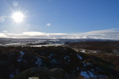 Moors over Haworth. Wintery view over the Haworth moors Royalty Free Stock Photo