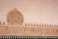Moorse steengravures in Alhambra Palace, Granada, Spanje Stock Foto's