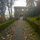 Moos bedeckte Weg zum Schloss Lizenzfreies Stockfoto