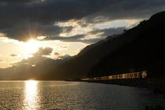 Moose湖,加拿大人罗基斯,加拿大 免版税库存照片