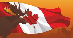 Moose against the flag of Canada. Moose against the flag and nature in Canada Stock Photo