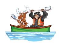 Moose and Bear in Canoe Cartoon Stock Photo