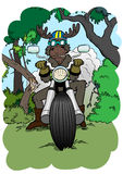 Moose-biker. Moose biker on off-road motorcycle in the forest Royalty Free Stock Images