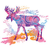 Moose. In blue and pink colors Stock Photos