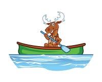 Moose in Canoe Cartoon Stock Image