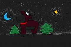 Moose at Christmas Colorful drawings in pop art style. Colorful drawings in pop art style royalty free illustration