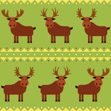 Moose and elk seamless pattern with different horns.  Stock Images