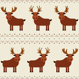 Moose and elk seamless pattern with different horns.  Stock Photography