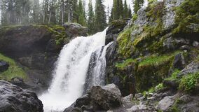 Moose Falls in Yellowstone National Park. Small waterfall near the southern park gates of Yellowstone stock footage