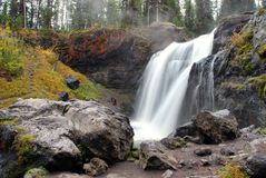 Moose Falls in Yellowstone National Park. Small waterfall near the southern park gates of Yellowstone stock photo