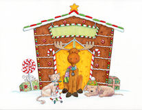 Moose and Friends. A cartoon moose and his friends are sitting in front of a gingerbread house Royalty Free Stock Images