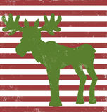 Moose greeting card vintage. Striped greeting card with moose and grunge effect Stock Photo