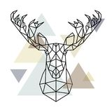 Moose head, geometric lines silhouette isolated on scandinavian background. vector illustration