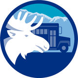 Moose Head School Bus Circle Retro Stock Images