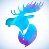 Moose head. Watercolor blue silhouette on a light background Royalty Free Stock Photography