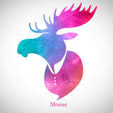 Moose head.Watercolor silhouette Stock Photography