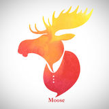 Moose head.Watercolor silhouette Royalty Free Stock Image