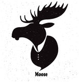 Moose head. Watercolor silhouette on  white background Stock Photo