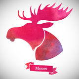 Moose head. Watercolor silhouette on a white background Royalty Free Stock Photo