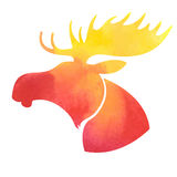 Moose head. Watercolor silhouette  on a white background Stock Images