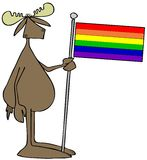 Moose holding a rainbow flag Stock Image