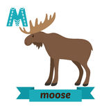 Moose. M letter. Cute children animal alphabet in vector. Funny Stock Photography