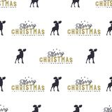 Moose and merry christmas lettering pattern. Wild animal symbols seamless background. Moose icons. Retro xmas wallpaper. Vintage holiday Stock vector Royalty Free Stock Photos