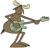Moose playing an electric guitar Royalty Free Stock Photo