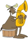 Moose playing a tuba Royalty Free Stock Images