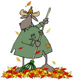 Moose raking autumn leaves Royalty Free Stock Photo