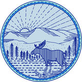 Moose River Flat Mountains Sunburst Circle Mono Line. Mono line style illustration of a moose viewed from the side with river, flat mountain and sunburst in the Royalty Free Stock Photos