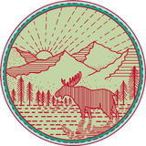 Moose River Mountains Sun Circle Mono line. Mono line Illustration of a moose viewed from the side with river mountain and sun burst in the background set inside Stock Images