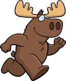 Moose Running. A cartoon moose running and smiling Stock Photos
