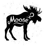 Moose silhouette 002. Moose silhouette with a calligraphic inscription `Moose` on a grunge background. Vector illustration Stock Image